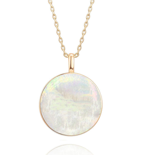 PAVOI 14K Gold Dipped Tree of Life Natural Gemstone Teardrop Pendant Necklace Healing Crystal Chakra Jewelry for Women - Synthetic Green Turquoise/Mother of Pearl