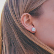 Cluster CZ Halo Earrings