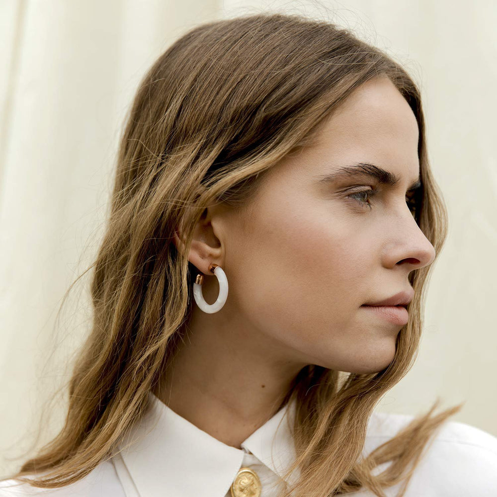 White Acrylic Hoop Earrings