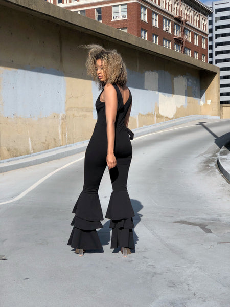 Flare Up Ruffle Jumpsuit (Black)