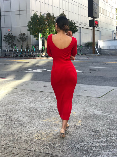 Katie Ribbed Dress (red)