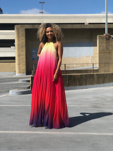 Ombré Maxi Dress (Red)