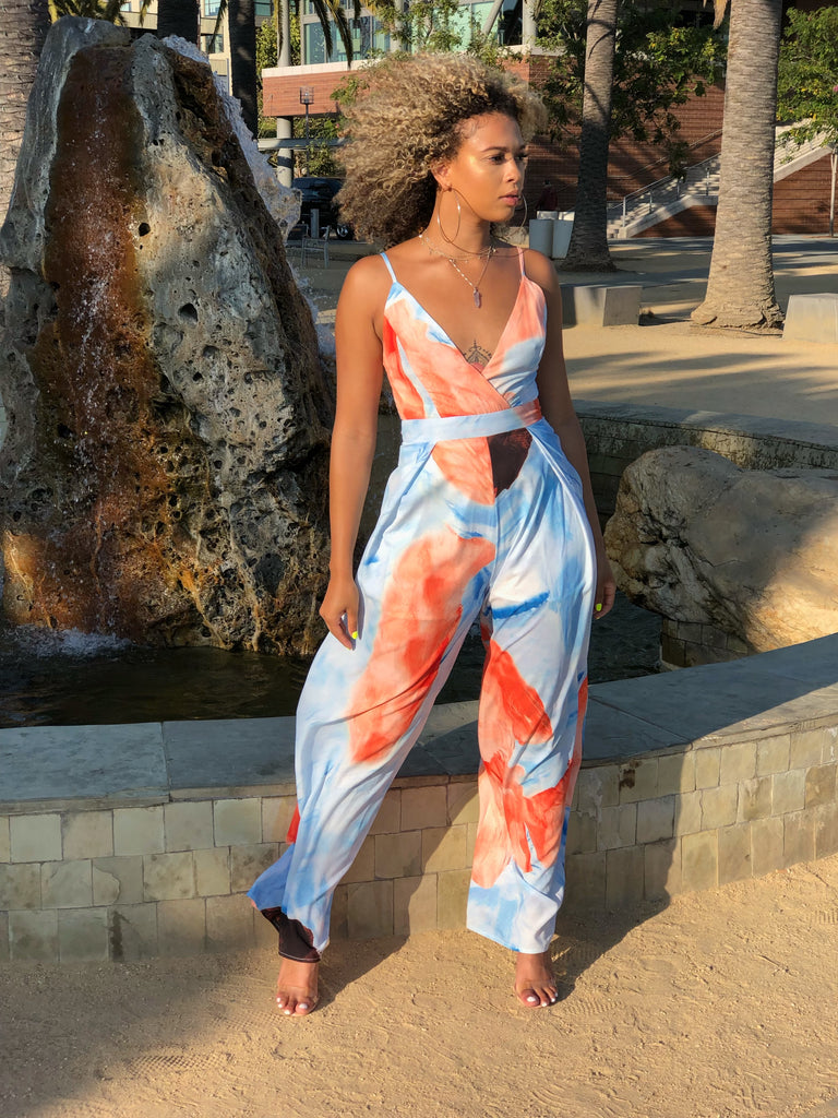 Go With The Flow Jumpsuit (Orange)