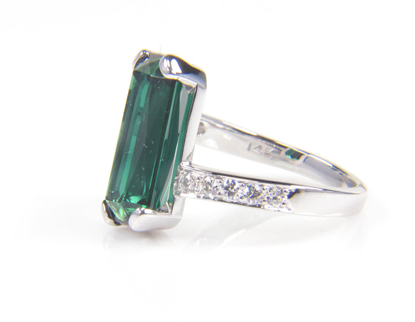 Emerald Shaped Green Tourmaline and Diamond Ring