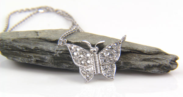 Platinum Diamond Butterfly Pendant