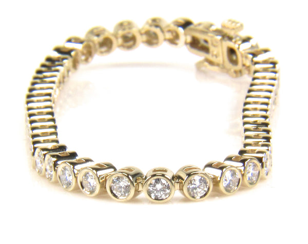 Custom Yellow Gold Diamond Tennis Bracelet