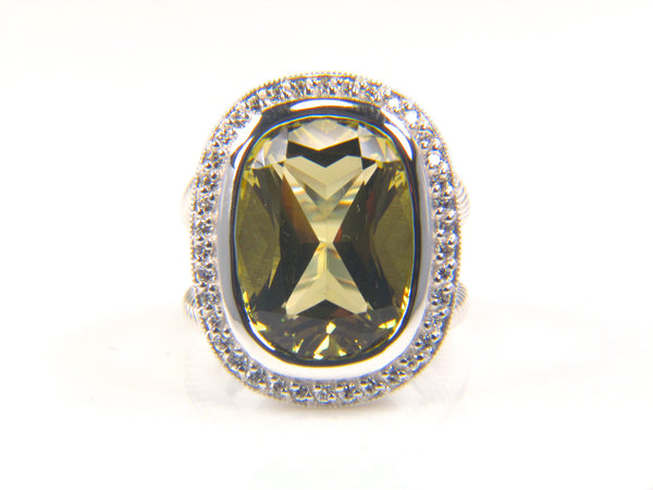 Cushion Cut Lemon Quartz Diamond Halo Ring