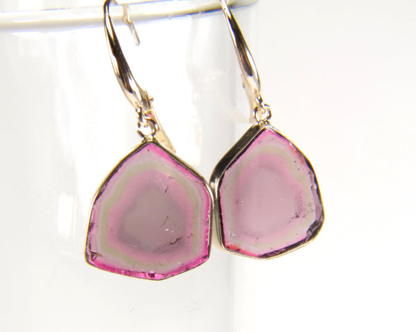 Watermelon Tourmaline Slice 14K Yellow Gold Dangle Earrings