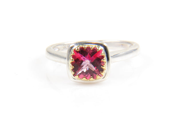 Pink Topaz Sterling Silver and 18K Yellow Gold Gemstone Ring