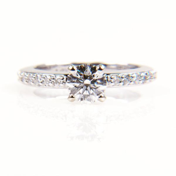 Custom Solitaire Half Diamond Band Engagement Ring