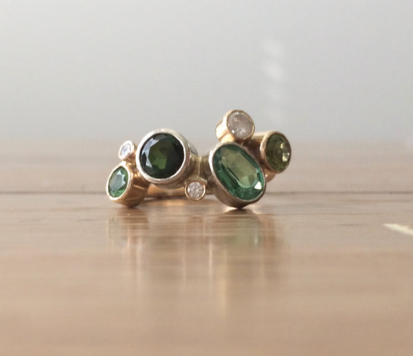 Multistone Gemstone Ring in 14K Yellow Gold - Peridot/Diamond/Tourmaline/Tsavorite