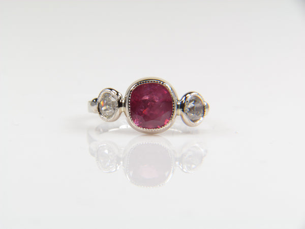 Custom Spinel and Diamond Ring