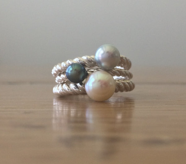 Sterling Silver Freshwater Pearl Stacking Ring