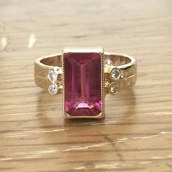 Emerald Cut Genuine Pink Tourmaline Diamond Ring in 14k Yellow Gold