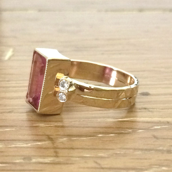 Rectangle Pink Tourmaline and Diamond Gemstone Cocktail Ring