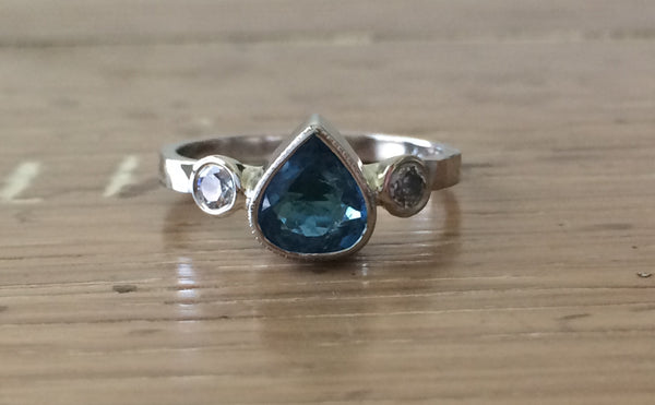 Pear Shaped Blue Tourmaline Diamond Three Stone Ring