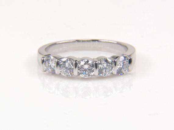 Custom Platinum 5 Stone Diamond Band