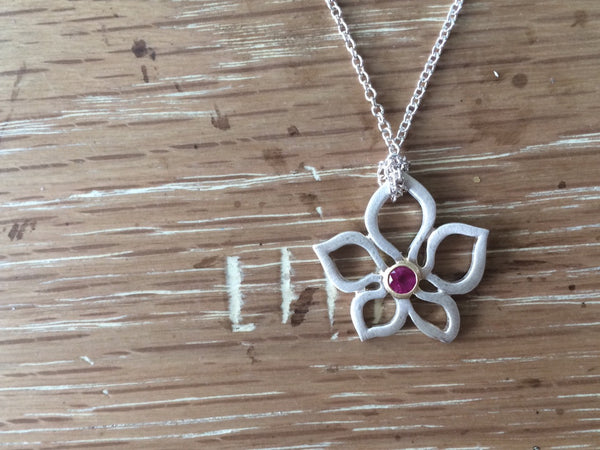 Sterling Silver Pink Tourmaline Lotus Necklace