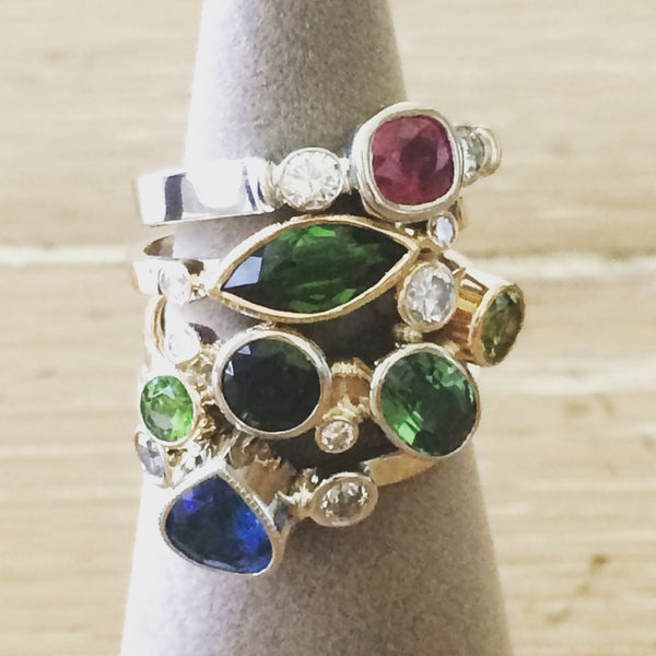 Marquise Green Tourmaline and Diamond Hammer Finish 14K Yellow Gold Ring