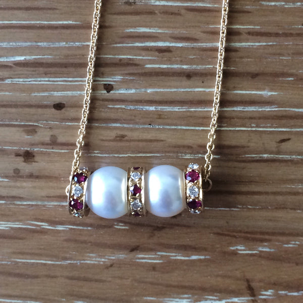 Akoya Pearl Diamond and Ruby Pendant in 14K Yellow Gold