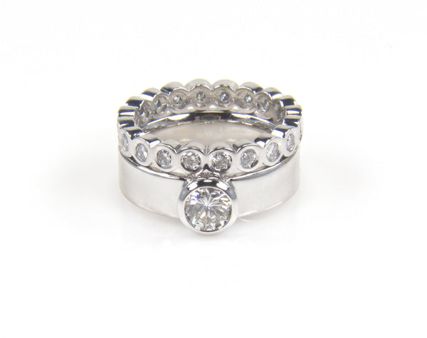 Custom Diamond Engagement Ring with Matching Diamond Band