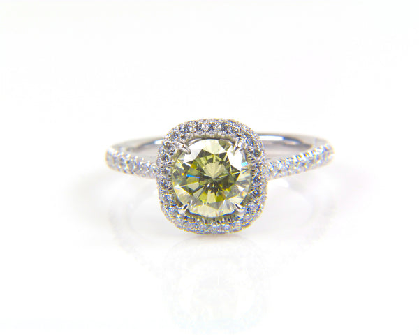 Custom Yellow Diamond Halo Ring