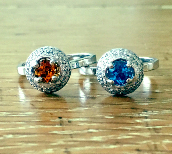 Custom Citrine and Blue Topaz Diamond Halo 14K White Gold Stack Rings