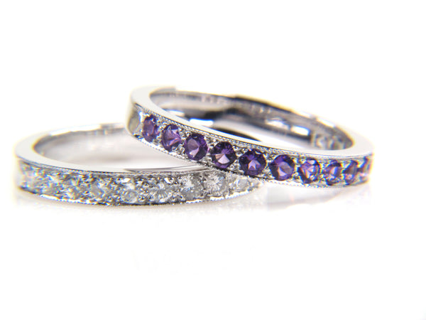 Custom Diamond and Amethyst Wedding Ring with Matching Bands