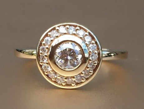 Custom Diamond Halo Ring in 14K Yellow Gold