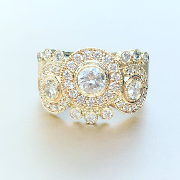 Custom Yellow Gold Diamond Halo Ring