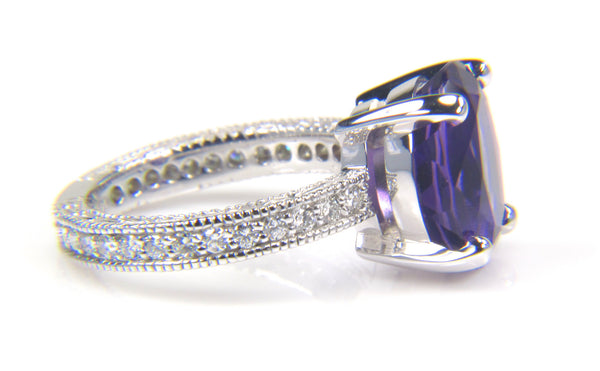 Oval Genuine Purple Amethyst Diamond Cocktail Ring - Antique Style Band