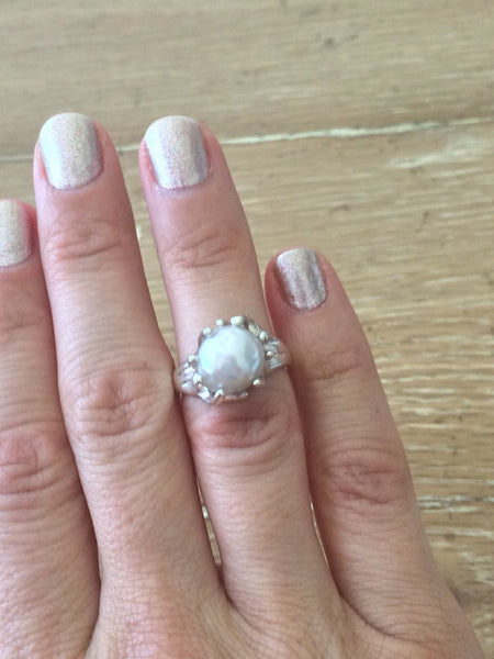 Natural Cultured Pearl Sterling Silver Ring