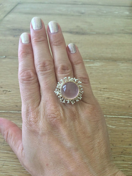 Rose Quartz Cabochon Sterling Silver and 18K Yellow Gold Ring