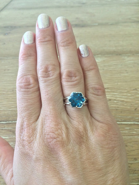 Blue Topaz Hexagon 14K White Gold Ring
