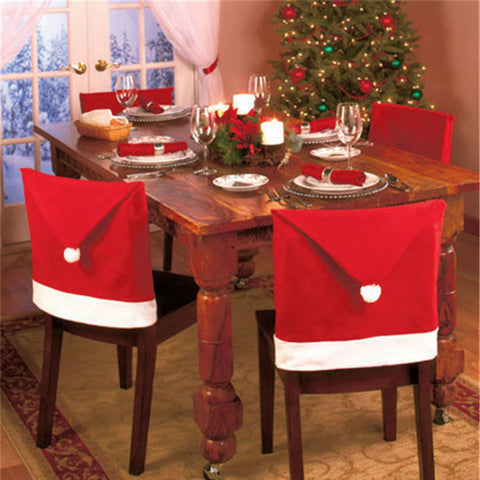 1pcs Santa Claus Cap Chair Cover Christmas Dinner Table Party Red Hat Chair Back Covers Xmas Decoration