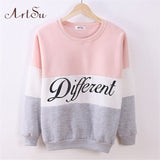 2016 Autumn and winter women fleeve hoodies printed letters Different women's casual sweatshirt hoodie