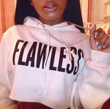 2016 Fall and winter FLAWLESS warm letters printed hooded fleece exposed navel short hoodies sweatshirt for women white black