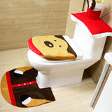 3Pcs/Set Christmas Decoration For Home Santa Toilet 3Pcs/Set Seat Cover & Rug Bathroom Santa Claus Christmas Ornament