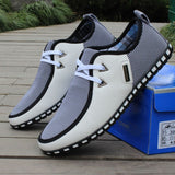 Fashion New Man Spring and Autumn Men Shoes Casual Shoes Mixed Colors Flats Lacing Fashion Men Leather Breathable Shoes