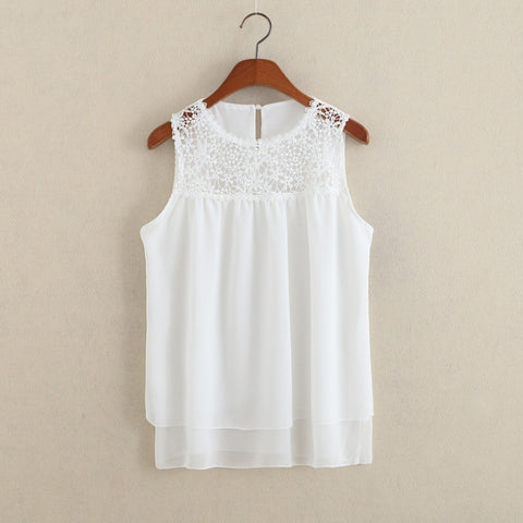 Fancyinn   Summer Sexy Blusas Femininas White O-neck Flower Lace Chiffon Sleeveless Women Blouse Tank Top