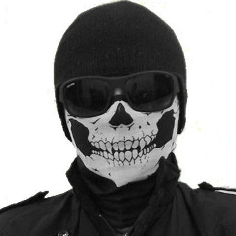 Skull Bandana Bike Motorcycle Helmet Neck Face Mask Paintball Ski Sport Headband (Color: Black)
