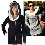 Fast Shipping New 2015 Korea Women Hoodies Winter Coat Warm Zip Up Outerwear Sweatshirts Sport Suit 2 Colors Black Gray