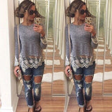 New Fashion Women's Loose Long Sleeve Lace Casual Blouse T-Shirt Tops Blouse