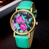 Vogue Women's Leather Rose Floral Printed Quartz Analog Wrist Watch