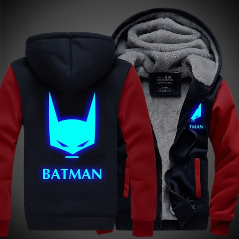 New Winter Jackets and Coats BATMAN hoodie Anime Luminous Hooded Thick Zipper Men cardigan Sweatshirts