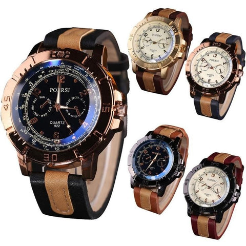 Hot Sale New Fashion Luxury Men's Watches Analog Quartz Faux Leather Sport Wrist Dress Watch  Gift