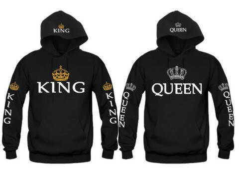 King and Queen Hoodies Valentine  New  Muti Colors Matching Cute Lover Couple