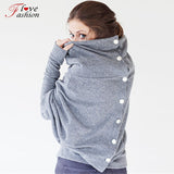 Autumn Winter New Costume Womens Hoodie Coat Jacket Diagonal Hooded Sweatshirts Back Button Women Clothing Gray