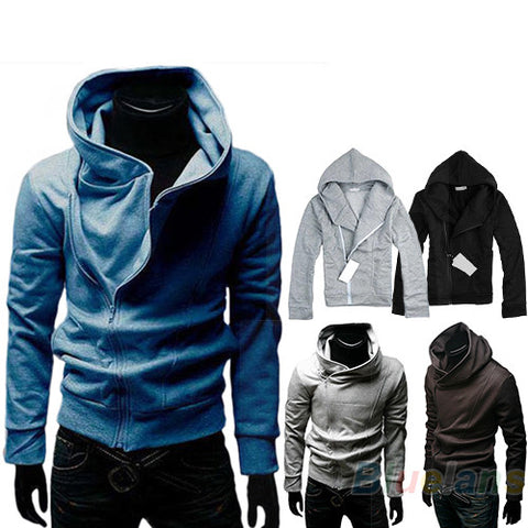 Men's Casual High Collar Fashion Personality Stayed Hooded Jacket Coat  Hoodies Fashion Hot Autumn Hood