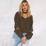 Casual V Neck Autumn Knitted Sweater Winter 2016 Loose Open Zipper Sleeve Pullover Black Pull Femme Jumper Short Pull Femme